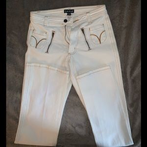 Bebe Jeans off-white w/copper colored accents Sz26
